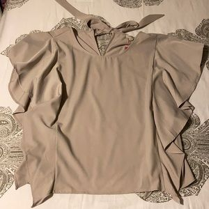 Umgee Tan Ruffle Top with Bow on Back